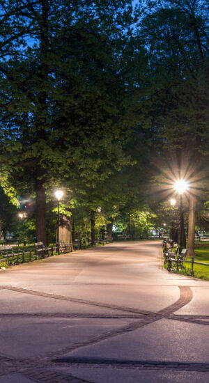 LED street lights (post top) used in a public parc to improve visibility and safety