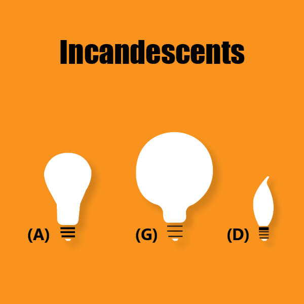 Incandescent lamp shapes infographic