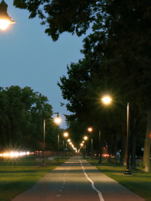 LED city street lights along the bycicle path of a parc in a canadian city to improve safety and visibility