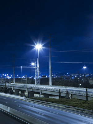 Light in cities: Road illuminated by LED street lights at night