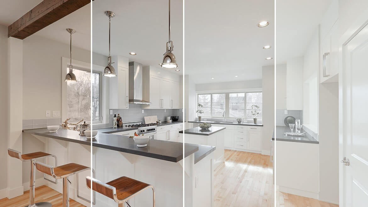 Kitchen with different types of lighting and color temperature