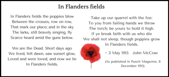 Remembrance Day - In Flander fields