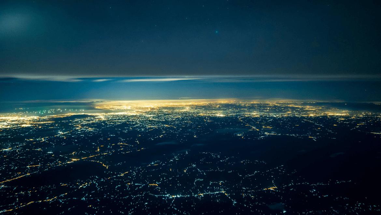 light pollution and illuminated city