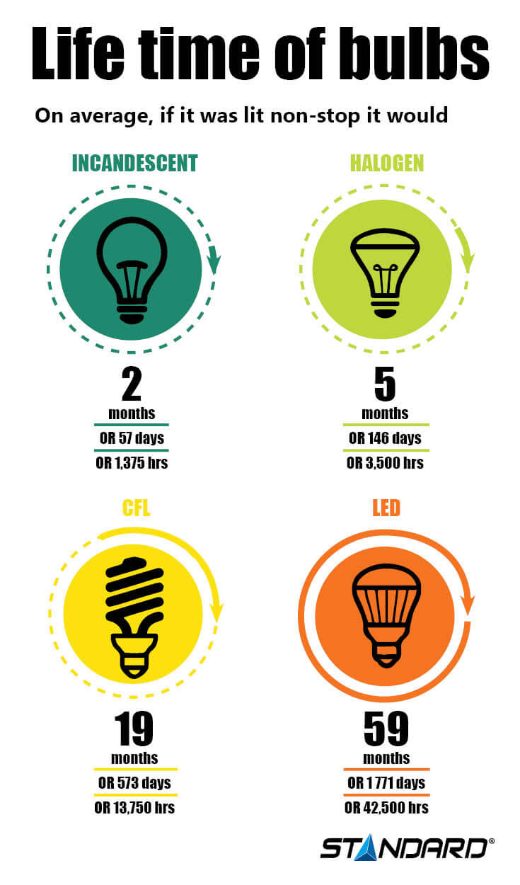 Life time bulb infographic