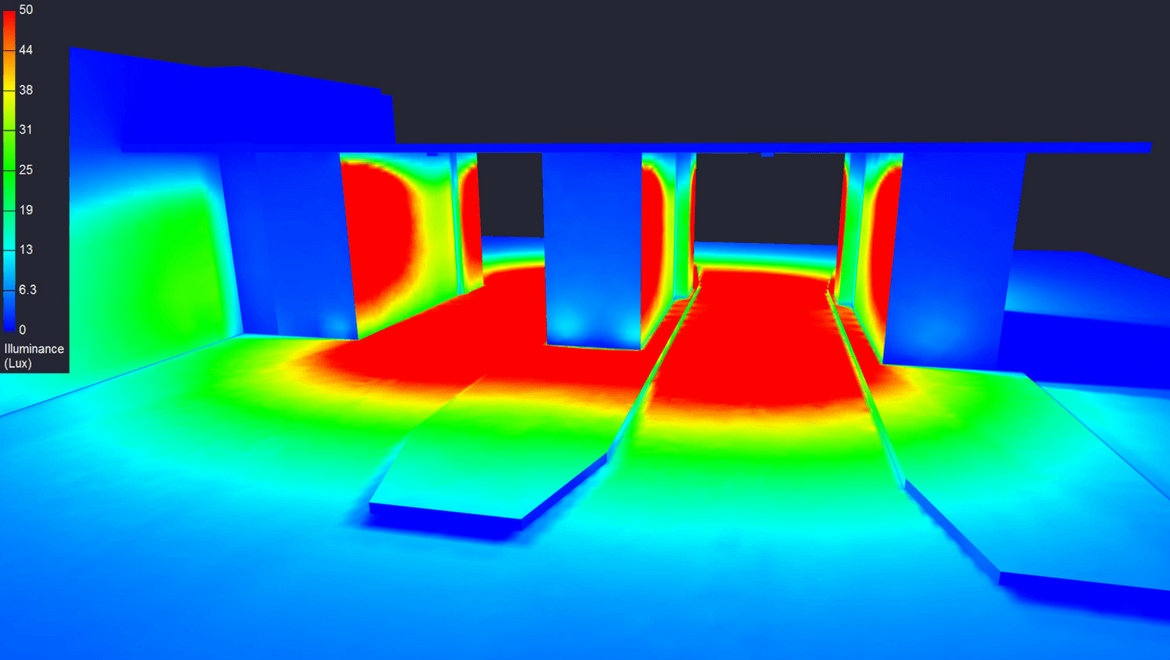 image of a room with photometry colors (thermal)