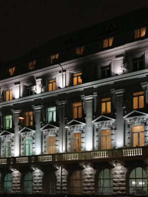 building lighted by flood and yard light that are LED street light to improve safety and visibility at night