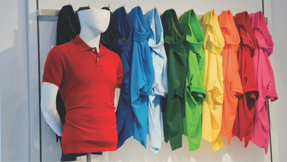 Colorful clothing on a display with manequin