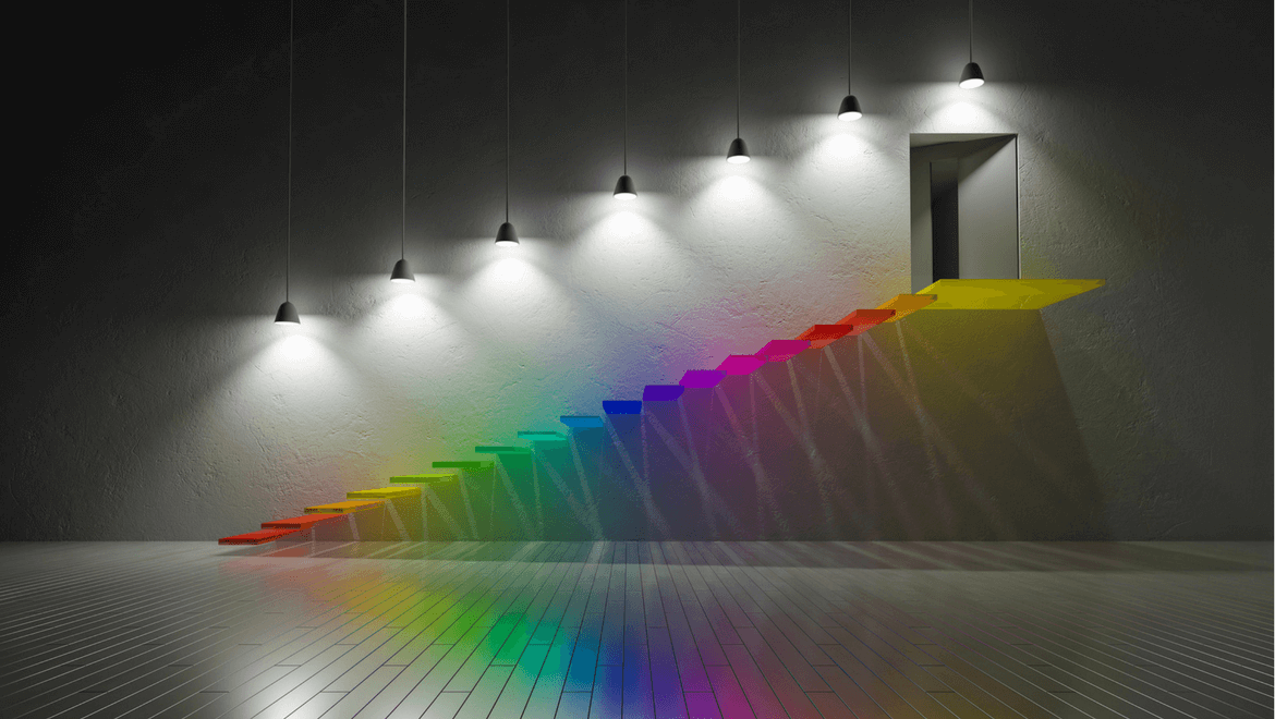 colored stairs enlighten by lamps
