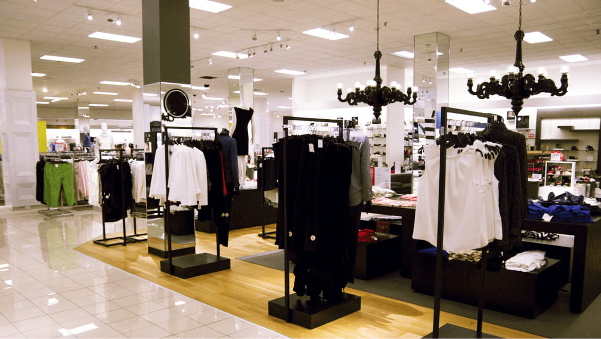 LED lightning to improve the visibility of the clothes in the store