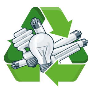 Lamp recycling sign with green arrows