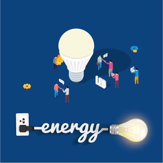 Illustration of a plugged and lighted led lamp that is an energy-efficient lighting solution and certified energy star because it allows to reduce energy consumption compared to traditional lamps