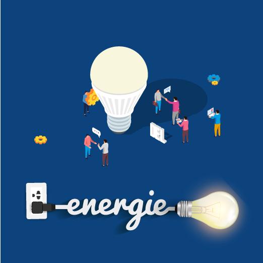 Illustration lampe del branchée et éclairée ui est une solution d'éclairage écoénergétiques et certifiée Energie Star ce qui permet de réduire sa consommation d'énergie en comparaison avec les lampes traditionnelles