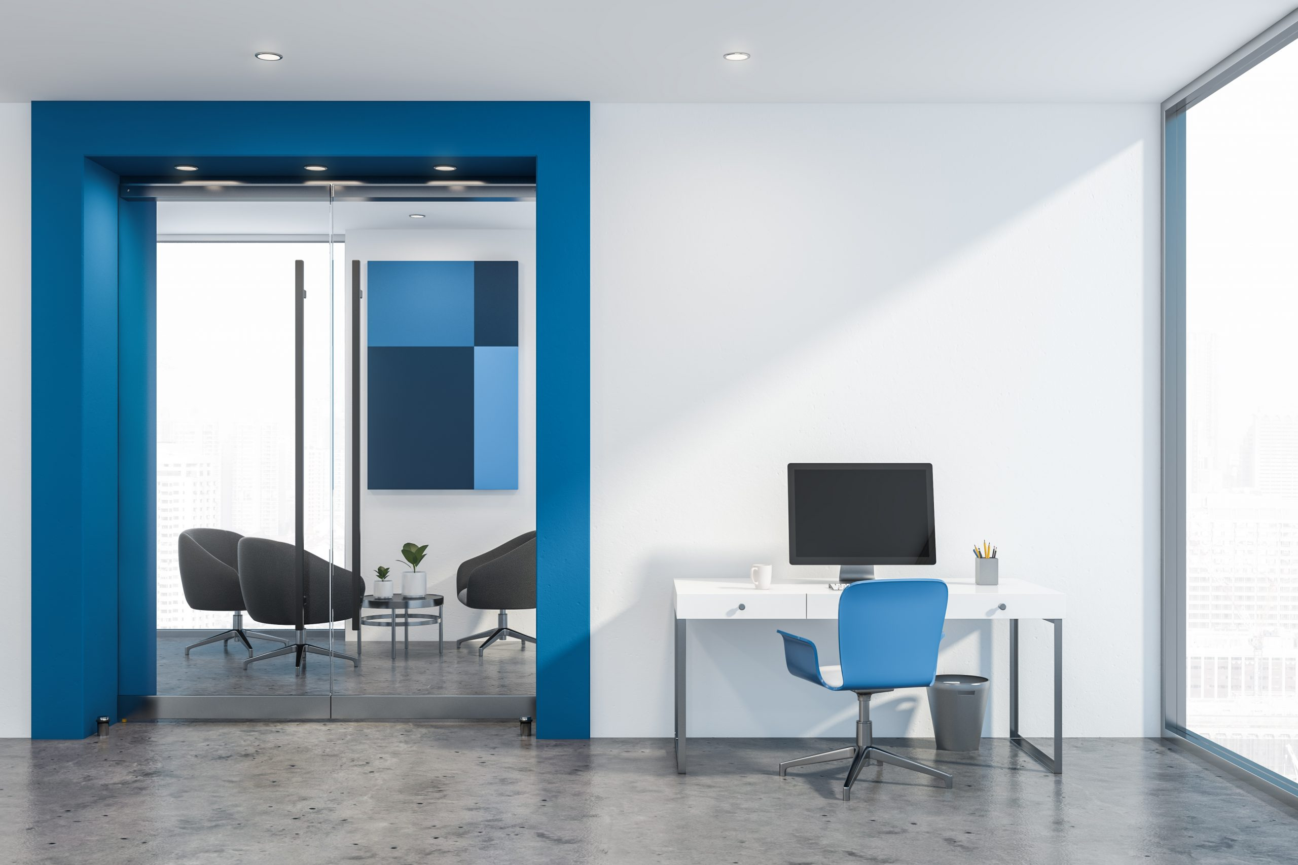 white and blue office with a computer and a desk lighted by the perfect downlights with the right features for this type of room